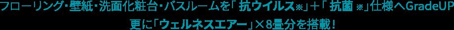 フローリング・壁紙・洗面化粧台・バスルームを「 抗ウイルス※」+「 抗菌 ※」仕様へGradeUP 更に「ウェルネスエアー」×8畳分を搭載!