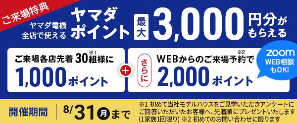 ご来場特典ヤマダポイント最大3000円分がもらえる