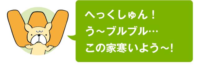 へっくしゅん! う〜ブルブル…この家寒いよう〜!